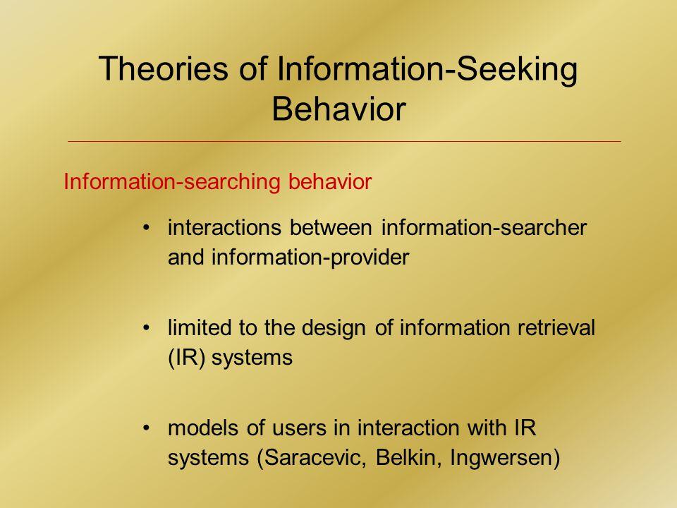 Theories of Information-Seeking Behavior Wilson (1981) Dervin (1983, 1996) Ellis (1989); with Cox and Hall (1993) Kuhlthau (1991) Wilson (1996) 5 Models of Information(-Seeking) Behavior