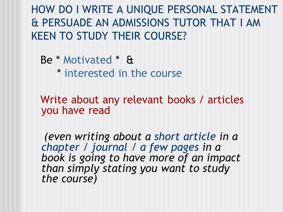 EXAMPLE…Personal Statement to study Psychology I have particularly enjoyed reading about Freudian theory in psychology.