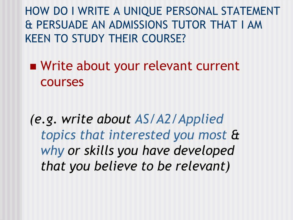 EXAMPLE…Personal Statement to study Sociology I have particularly enjoyed studying the sociology of health and illness as part of A2 Sociology in which I researched patient responses to becoming ill e.g.