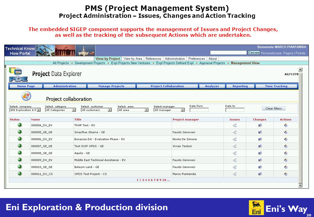 20 PMS (Project Management System) Project Administration – Issues, Changes and Action Tracking The embedded SIGEP component supports the management of Issues and Project Changes, as well as the tracking of the subsequent Actions which are undertaken.