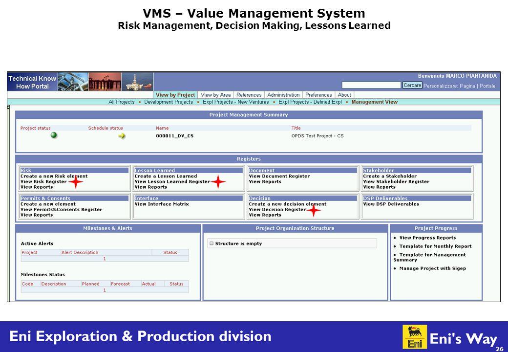 26 VMS – Value Management System Risk Management, Decision Making, Lessons Learned