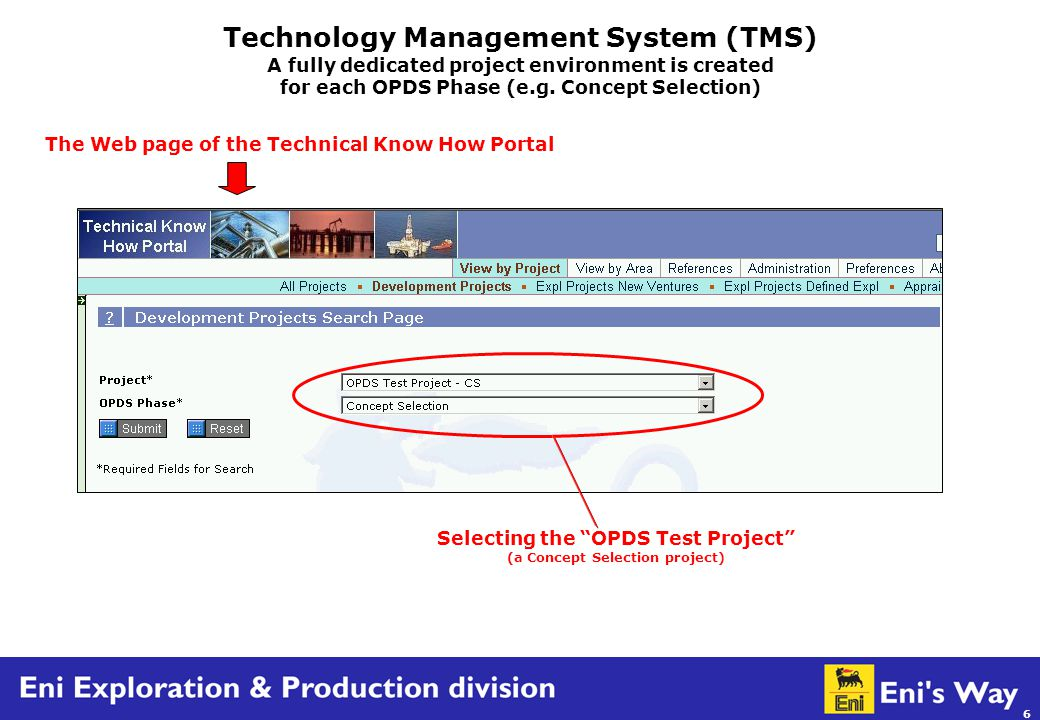 6 Technology Management System (TMS) A fully dedicated project environment is created for each OPDS Phase (e.g.