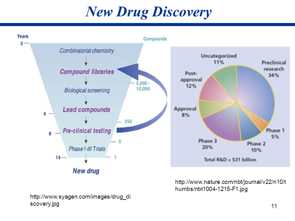 11 New Drug Discovery http://www.syagen.com/images/drug_di scovery.jpg http://www.nature.com/nbt/journal/v22/n10/t humbs/nbt1004-1215-F1.jpg