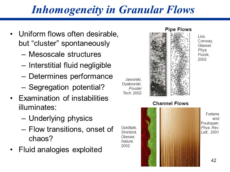"42 Inhomogeneity in Granular Flows Uniform flows often desirable, but ""cluster"" spontaneously –Mesoscale structures –Interstitial fluid negligible –De"