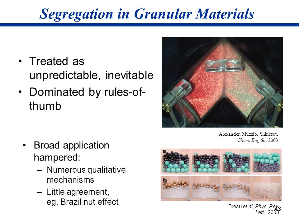 43 Segregation in Granular Materials Treated as unpredictable, inevitable Dominated by rules-of- thumb Breau et al, Phys. Rev. Lett., 2003 Alexander,
