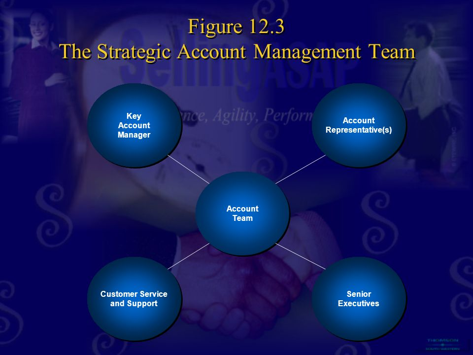 Key Account Manager Key Account Manager Customer Service and Support Customer Service and Support Account Representative(s) Account Representative(s) Senior Executives Senior Executives Account Team Account Team Figure 12.3 The Strategic Account Management Team
