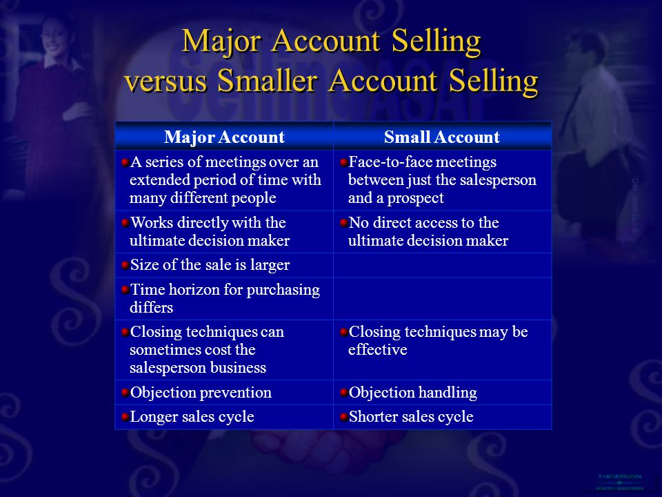 Major Account Selling versus Smaller Account Selling Major AccountSmall Account A series of meetings over an extended period of time with many different people Face-to-face meetings between just the salesperson and a prospect Works directly with the ultimate decision maker No direct access to the ultimate decision maker Size of the sale is larger Time horizon for purchasing differs Closing techniques can sometimes cost the salesperson business Closing techniques may be effective Objection preventionObjection handling Longer sales cycleShorter sales cycle
