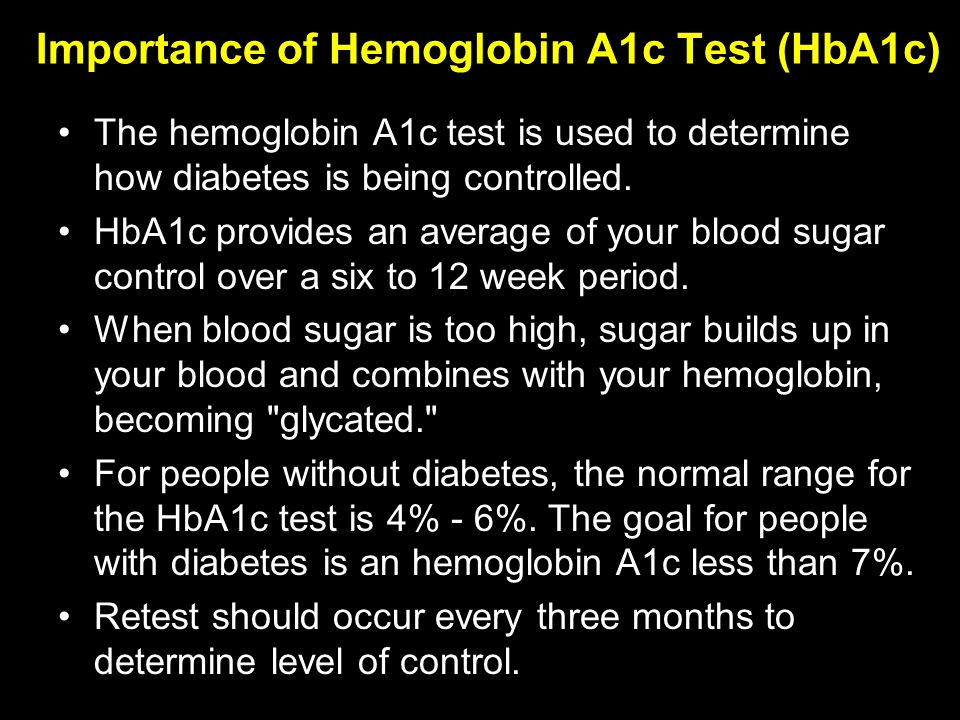 Importance of Hemoglobin A1c Test (HbA1c) The hemoglobin A1c test is used to determine how diabetes is being controlled.