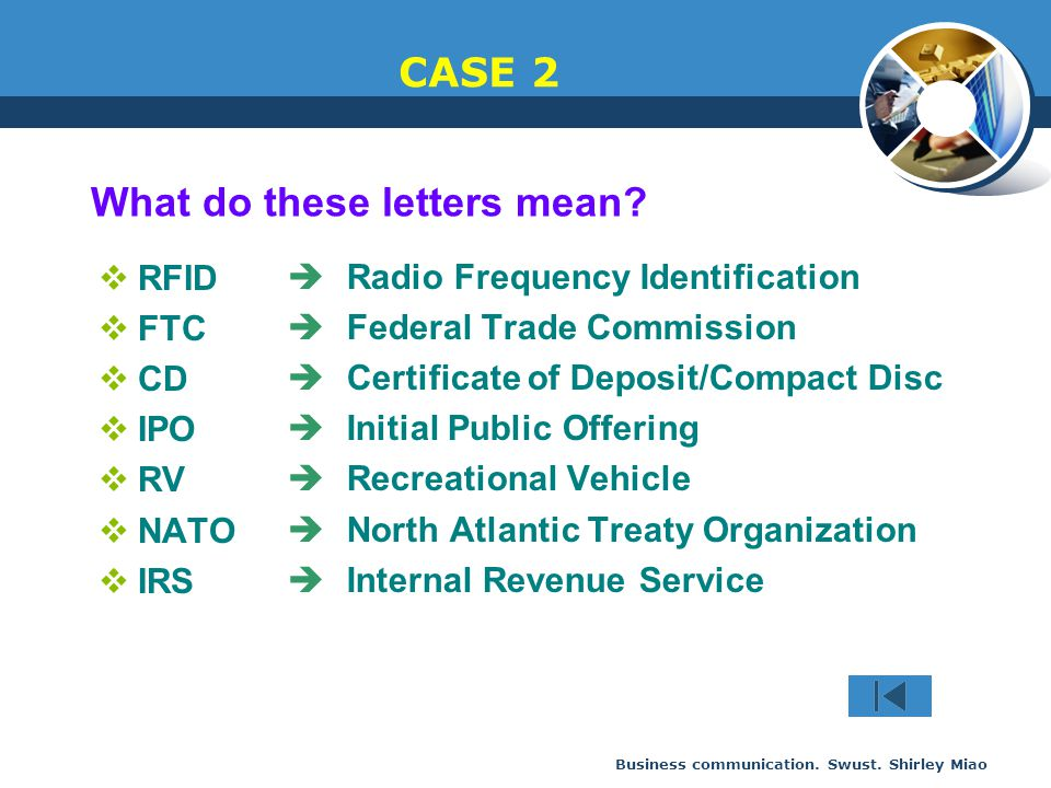 Business communication. Swust. Shirley Miao CASE 2  RFID  FTC  CD  IPO  RV  NATO  IRS  Radio Frequency Identification  Federal Trade Commissi