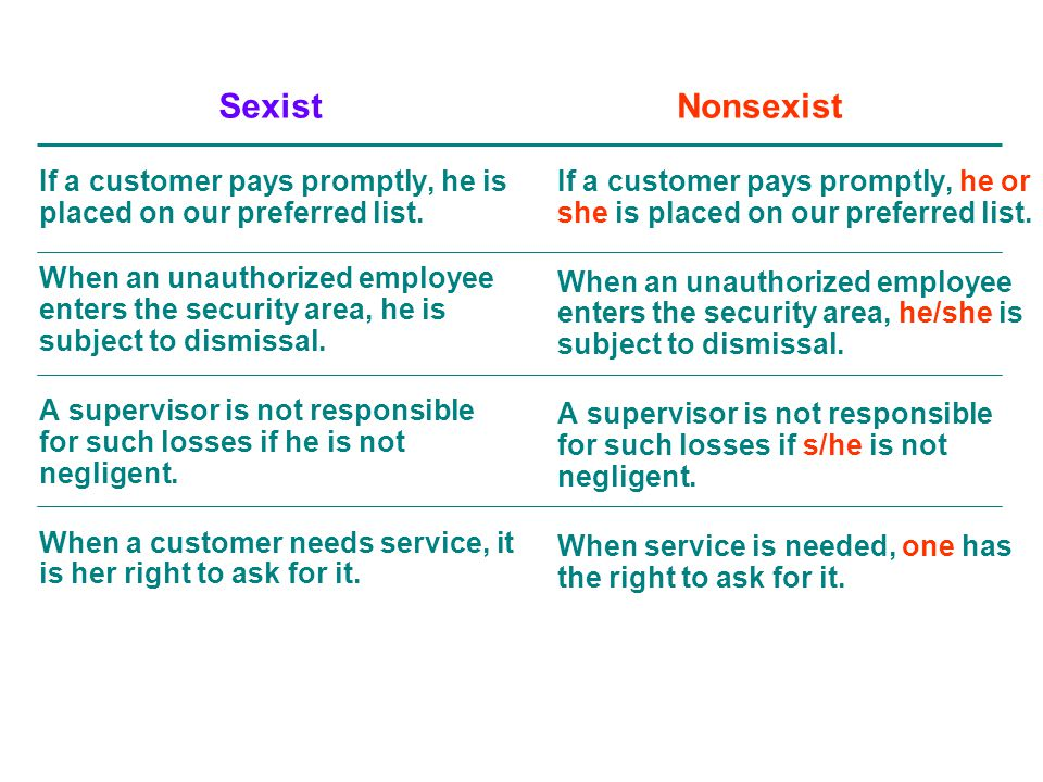 If a customer pays promptly, he or she is placed on our preferred list. When an unauthorized employee enters the security area, he/she is subject to d