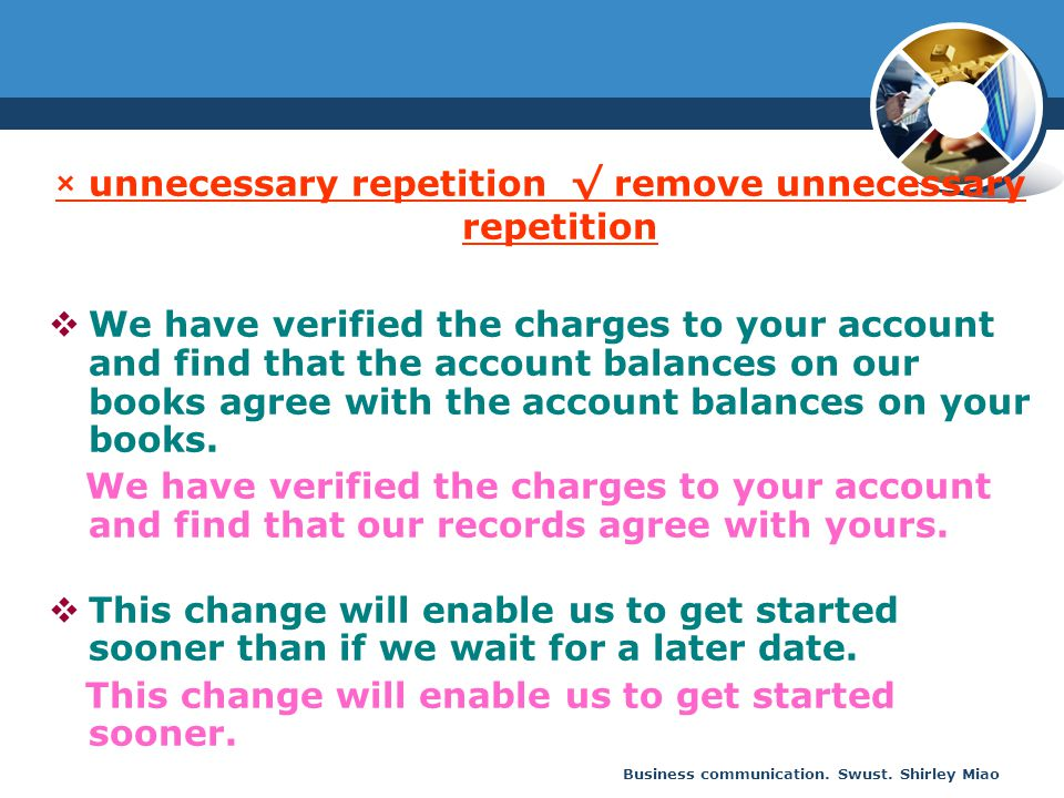 Business communication. Swust. Shirley Miao × unnecessary repetition √ remove unnecessary repetition  We have verified the charges to your account an