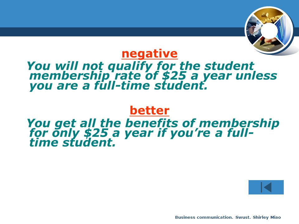 Business communication. Swust. Shirley Miao negative You will not qualify for the student membership rate of $25 a year unless you are a full-time stu
