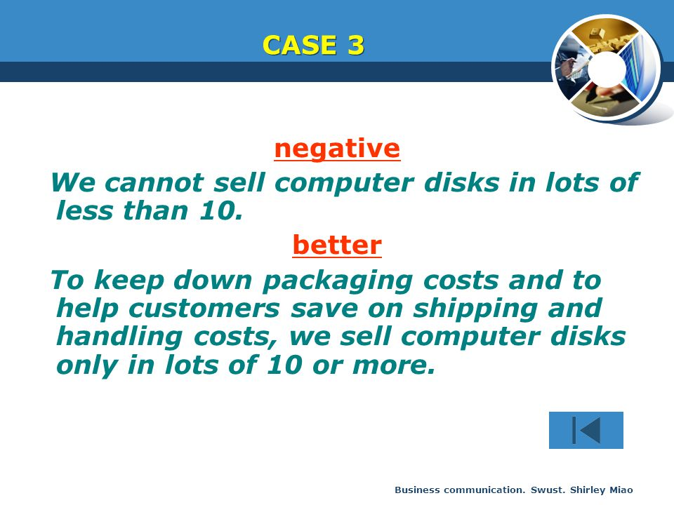 Business communication. Swust. Shirley Miao negative We cannot sell computer disks in lots of less than 10. better To keep down packaging costs and to