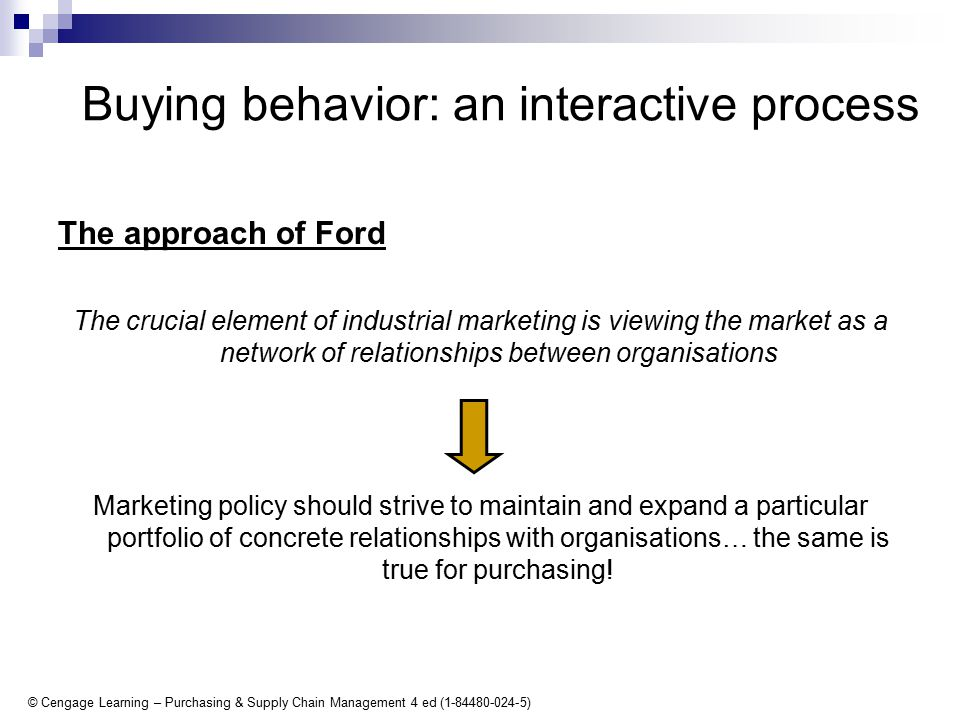 © Cengage Learning – Purchasing & Supply Chain Management 4 ed (1-84480-024-5) Buying behavior: an interactive process The approach of Ford The crucial element of industrial marketing is viewing the market as a network of relationships between organisations Marketing policy should strive to maintain and expand a particular portfolio of concrete relationships with organisations… the same is true for purchasing!