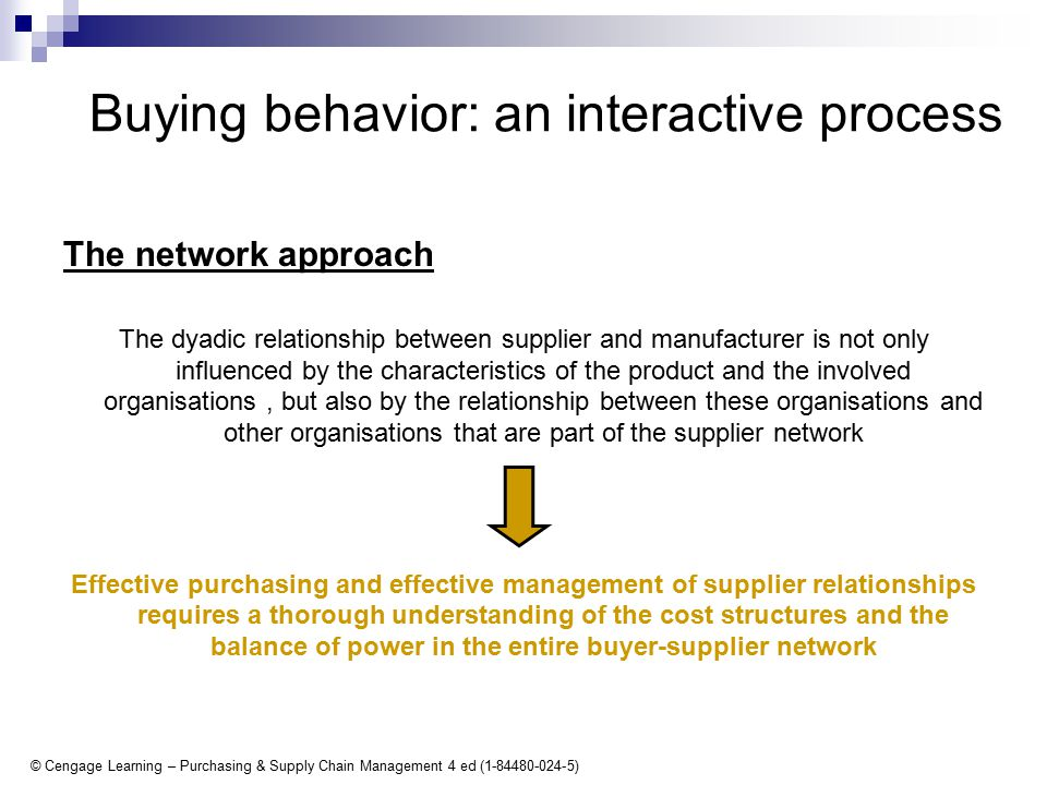 © Cengage Learning – Purchasing & Supply Chain Management 4 ed (1-84480-024-5) Buying behavior: an interactive process The network approach The dyadic relationship between supplier and manufacturer is not only influenced by the characteristics of the product and the involved organisations, but also by the relationship between these organisations and other organisations that are part of the supplier network Effective purchasing and effective management of supplier relationships requires a thorough understanding of the cost structures and the balance of power in the entire buyer-supplier network