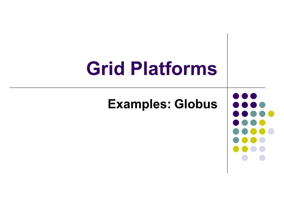 Grid Platforms Examples: Globus