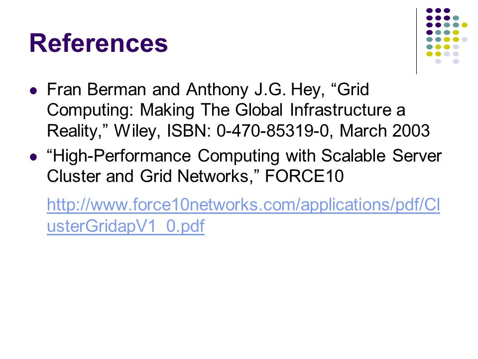 References Fran Berman and Anthony J.G.