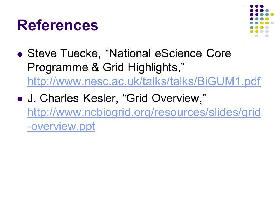 "References Steve Tuecke, ""National eScience Core Programme & Grid Highlights,"" http://www.nesc.ac.uk/talks/talks/BiGUM1.pdf http://www.nesc.ac.uk/talk"