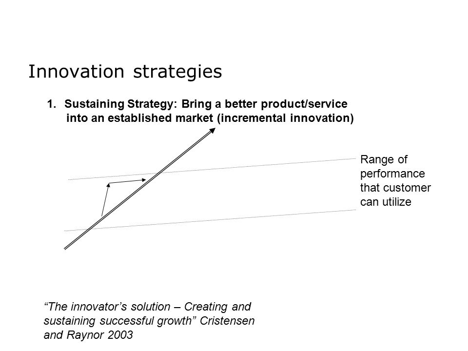 Innovation strategies 1.Sustaining Strategy: Bring a better product/service into an established market (incremental innovation) Range of performance that customer can utilize The innovator's solution – Creating and sustaining successful growth Cristensen and Raynor 2003