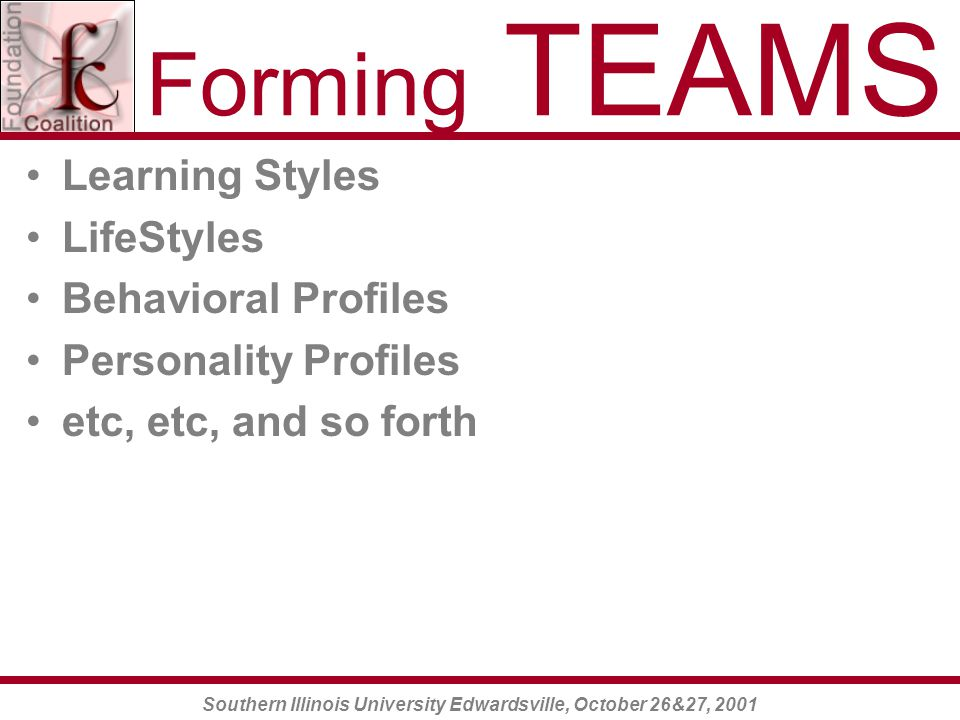 Southern Illinois University Edwardsville, October 26&27, 2001 Forming TEAMS Learning Styles LifeStyles Behavioral Profiles Personality Profiles etc, etc, and so forth