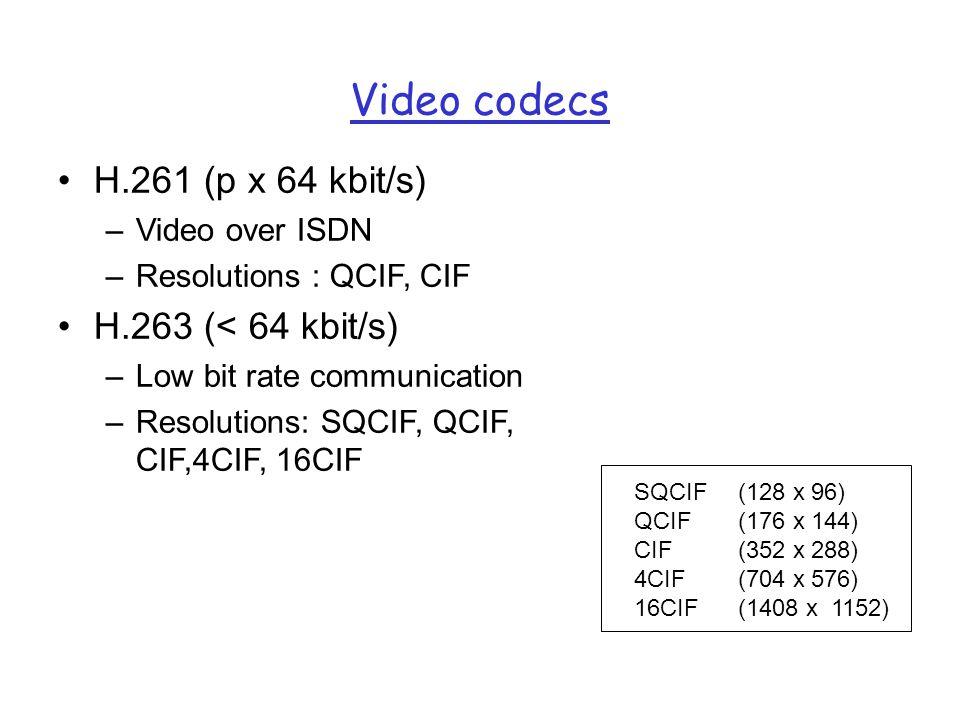 Video codecs H.261 (p x 64 kbit/s) –Video over ISDN –Resolutions : QCIF, CIF H.263 (< 64 kbit/s) –Low bit rate communication –Resolutions: SQCIF, QCIF