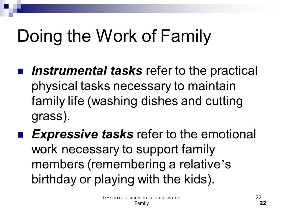 Lesson 5: Intimate Relationships and Family22 Doing the Work of Family Instrumental tasks refer to the practical physical tasks necessary to maintain