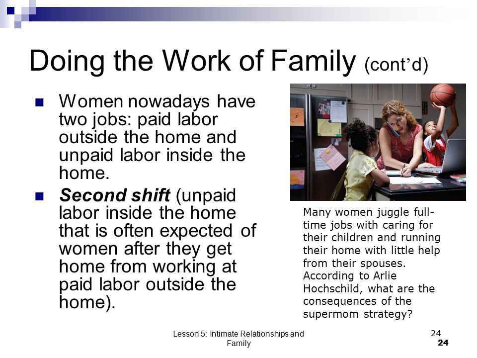 Lesson 5: Intimate Relationships and Family24 Doing the Work of Family (cont ' d) Women nowadays have two jobs: paid labor outside the home and unpaid labor inside the home.