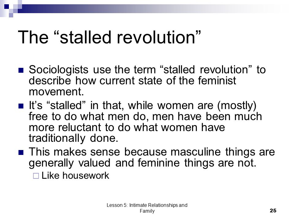 Lesson 5: Intimate Relationships and Family25 The stalled revolution Sociologists use the term stalled revolution to describe how current state of the feminist movement.