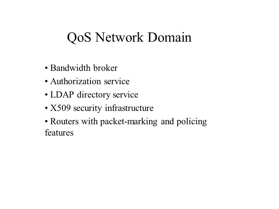 Bandwidth broker Authorization service LDAP directory service X509 security infrastructure Routers with packet-marking and policing features QoS Network Domain