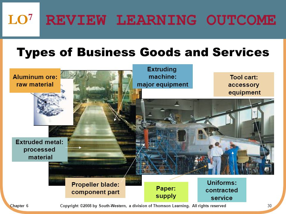 Chapter 6Copyright ©2008 by South-Western, a division of Thomson Learning. All rights reserved 30 REVIEW LEARNING OUTCOME LO 7 Types of Business Goods
