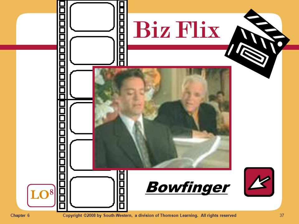 Chapter 6Copyright ©2008 by South-Western, a division of Thomson Learning. All rights reserved 37 Biz Flix LO 8 Bowfinger