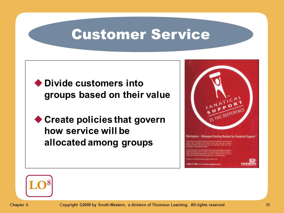 Chapter 6Copyright ©2008 by South-Western, a division of Thomson Learning. All rights reserved 38 Customer Service LO 8  Divide customers into groups