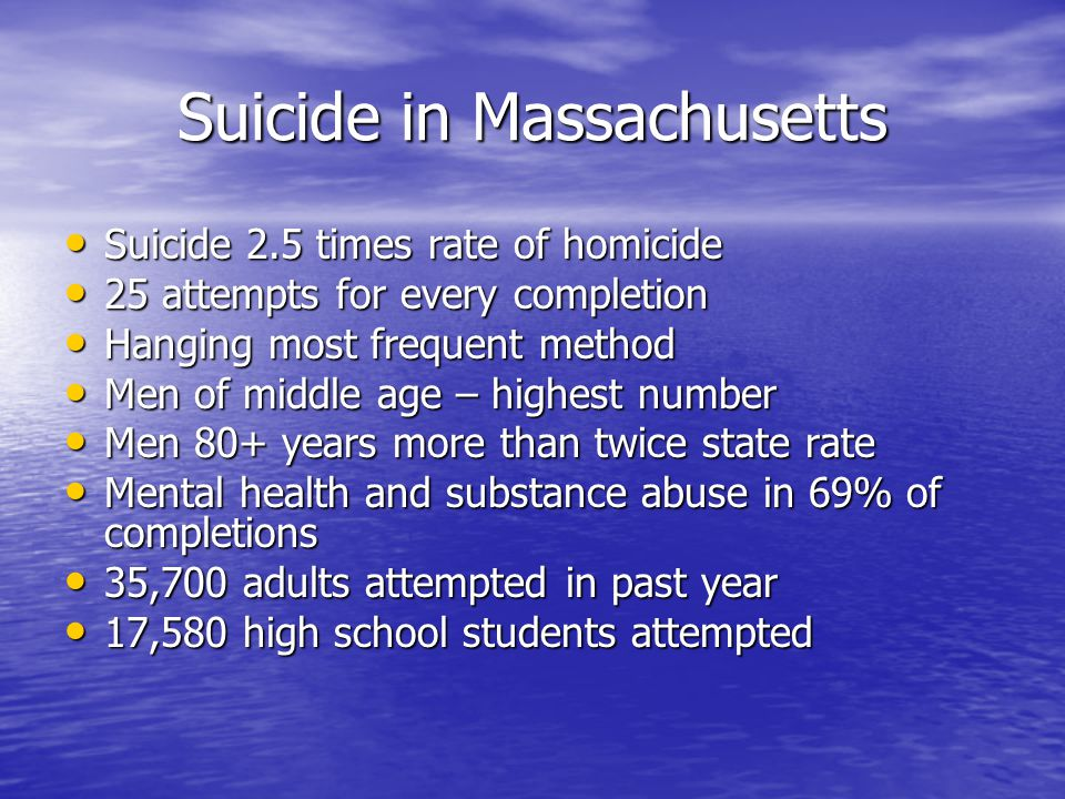 Suicide in Massachusetts Suicide 2.5 times rate of homicide Suicide 2.5 times rate of homicide 25 attempts for every completion 25 attempts for every completion Hanging most frequent method Hanging most frequent method Men of middle age – highest number Men of middle age – highest number Men 80+ years more than twice state rate Men 80+ years more than twice state rate Mental health and substance abuse in 69% of completions Mental health and substance abuse in 69% of completions 35,700 adults attempted in past year 35,700 adults attempted in past year 17,580 high school students attempted 17,580 high school students attempted