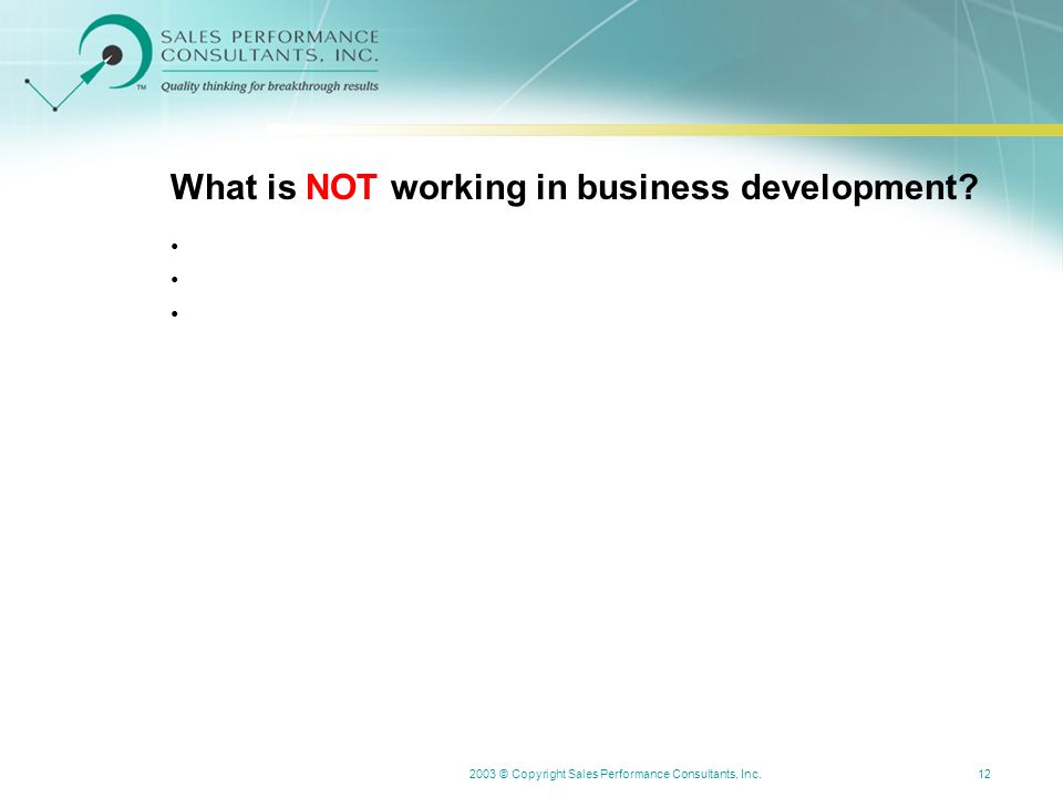 2003 © Copyright Sales Performance Consultants, Inc.12 What is NOT working in business development?