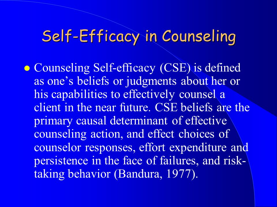 Self-Efficacy in Counseling l Counseling Self-efficacy (CSE) is defined as one's beliefs or judgments about her or his capabilities to effectively counsel a client in the near future.