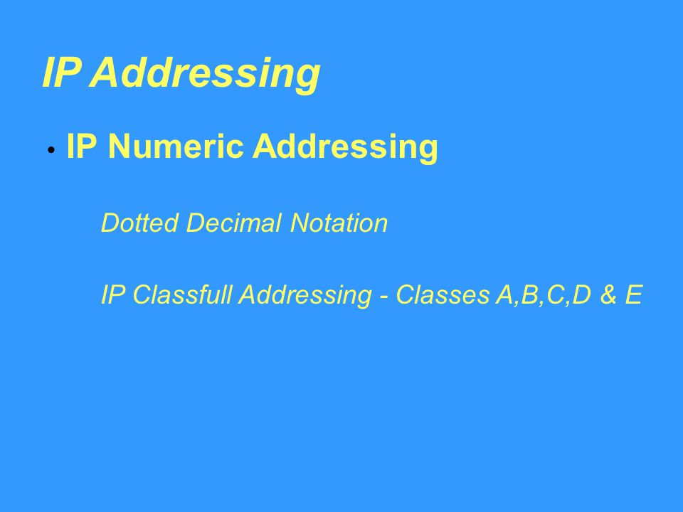 IP Addressing IP Numeric Addressing Dotted Decimal Notation IP Classfull Addressing - Classes A,B,C,D & E