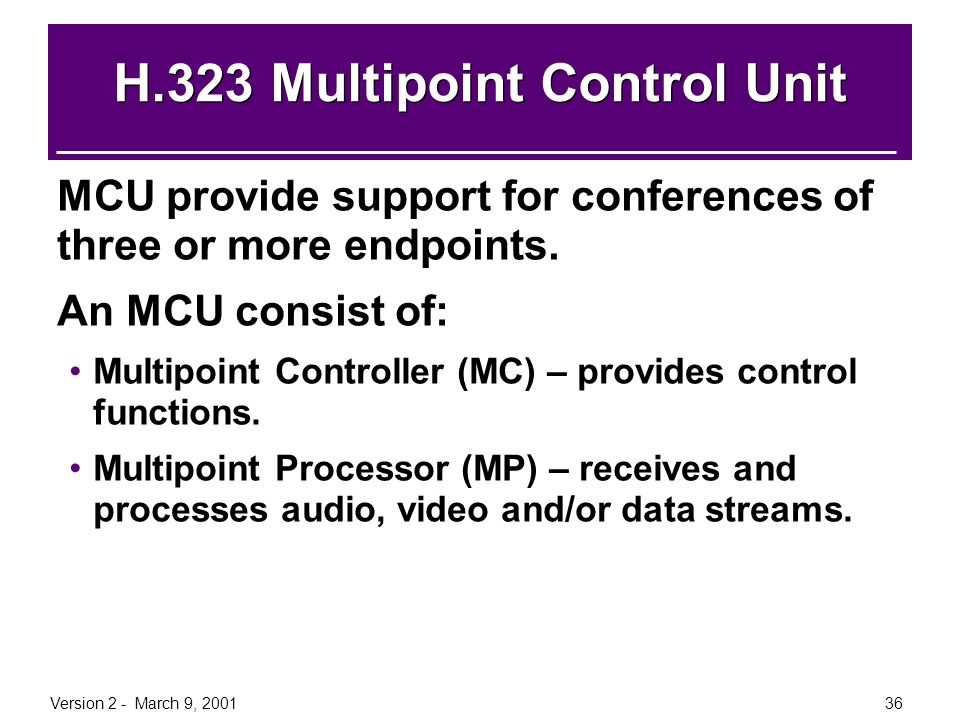 Version 2 - March 9, 200136 H.323 Multipoint Control Unit MCU provide support for conferences of three or more endpoints. An MCU consist of: Multipoin