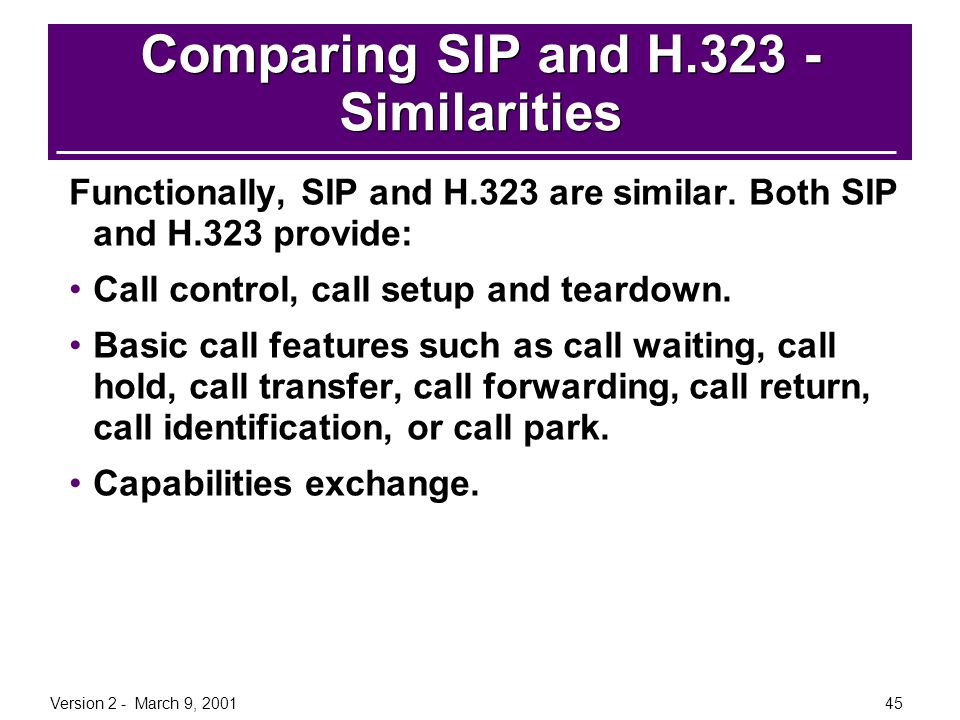 Version 2 - March 9, 200145 Comparing SIP and H.323 - Similarities Functionally, SIP and H.323 are similar. Both SIP and H.323 provide: Call control,