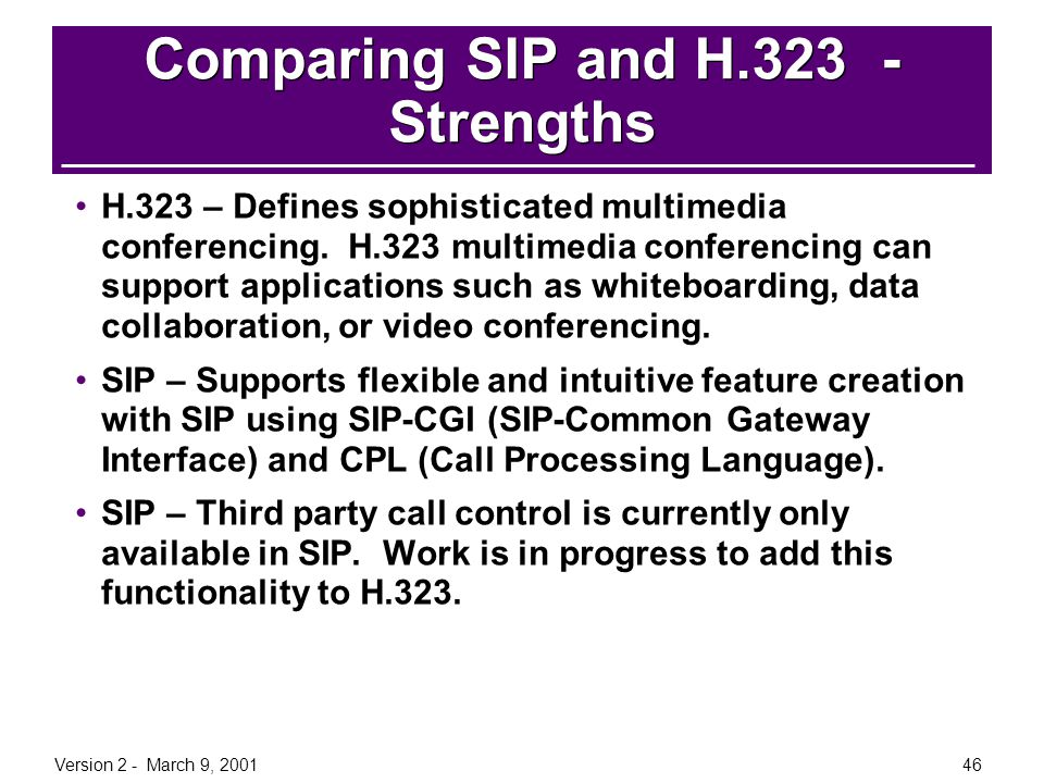 Version 2 - March 9, 200146 Comparing SIP and H.323 - Strengths H.323 – Defines sophisticated multimedia conferencing. H.323 multimedia conferencing c