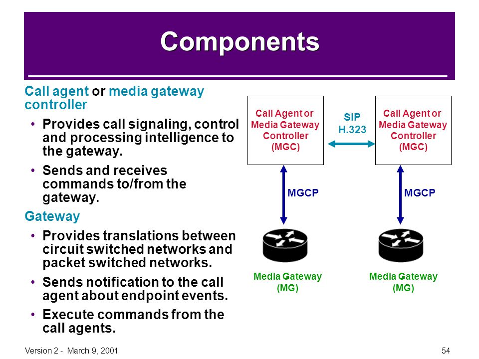 Version 2 - March 9, 200154 Components Call agent or media gateway controller Provides call signaling, control and processing intelligence to the gate