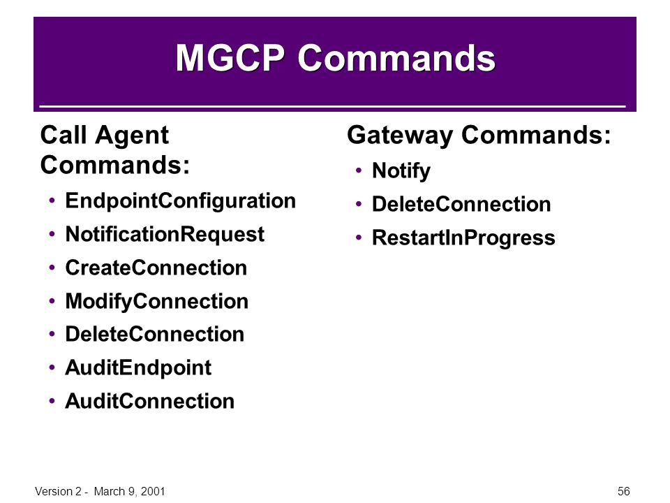 Version 2 - March 9, 200156 MGCP Commands Call Agent Commands: EndpointConfiguration NotificationRequest CreateConnection ModifyConnection DeleteConne