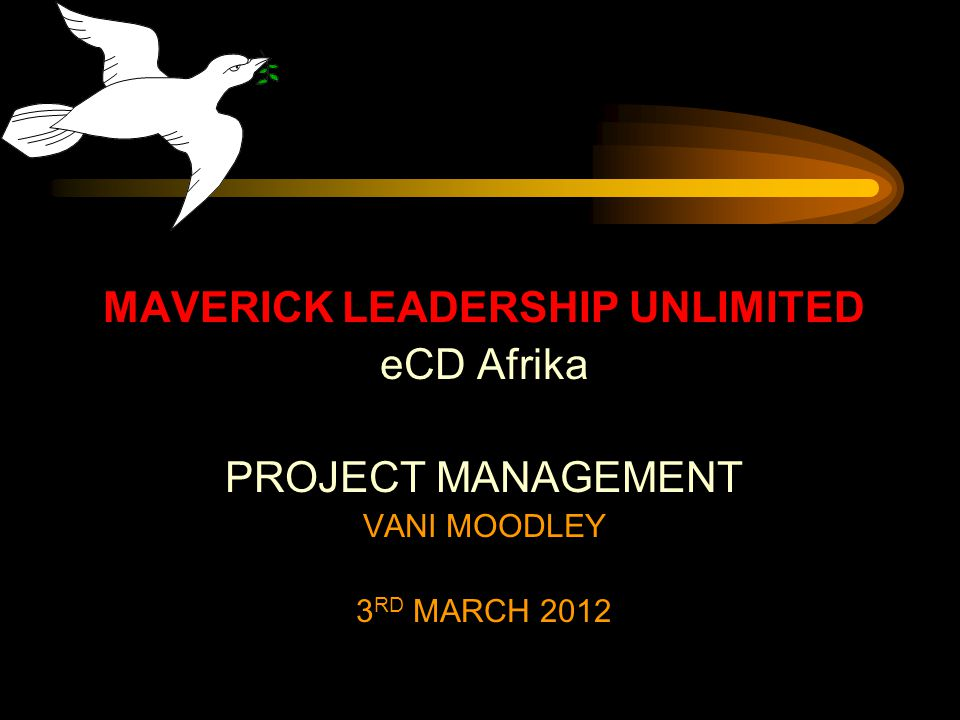 MAVERICK LEADERSHIP UNLIMITED eCD Afrika PROJECT MANAGEMENT VANI MOODLEY 3 RD MARCH 2012