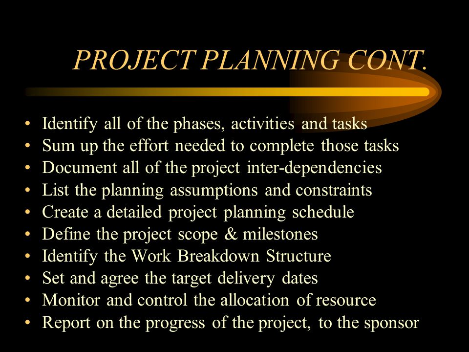 Quality Planning Identifying the customers requirements Listing the project deliverables to be produced Setting quality criteria for these deliverables Defining quality standards for the deliverables Gaining your customers agreement with the targets set Identifying the quality control tasks needed to control quality Creating a Quality Control Plan, by scheduling the control activities Listing the quality assurance activities required to assure quality Building a Quality Assurance Plan, by creating an activity schedule