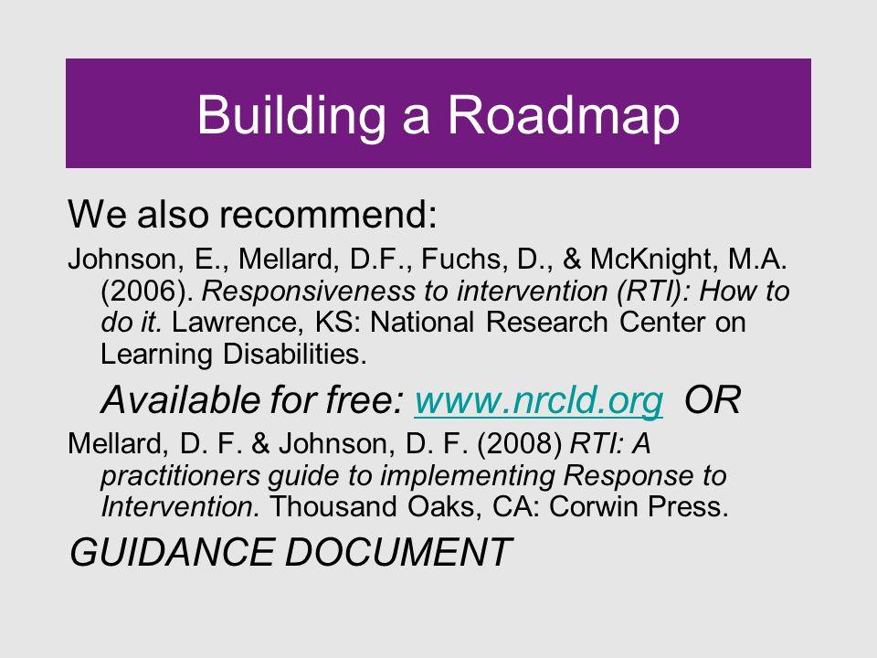 Building a Roadmap We also recommend: Johnson, E., Mellard, D.F., Fuchs, D., & McKnight, M.A.