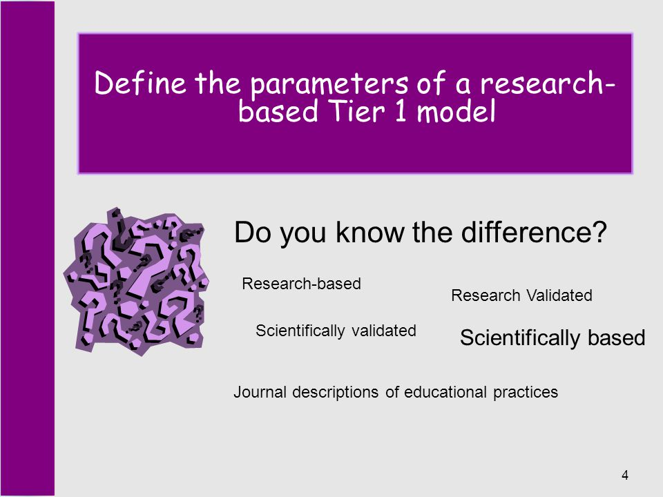 4 Define the parameters of a research- based Tier 1 model Do you know the difference.