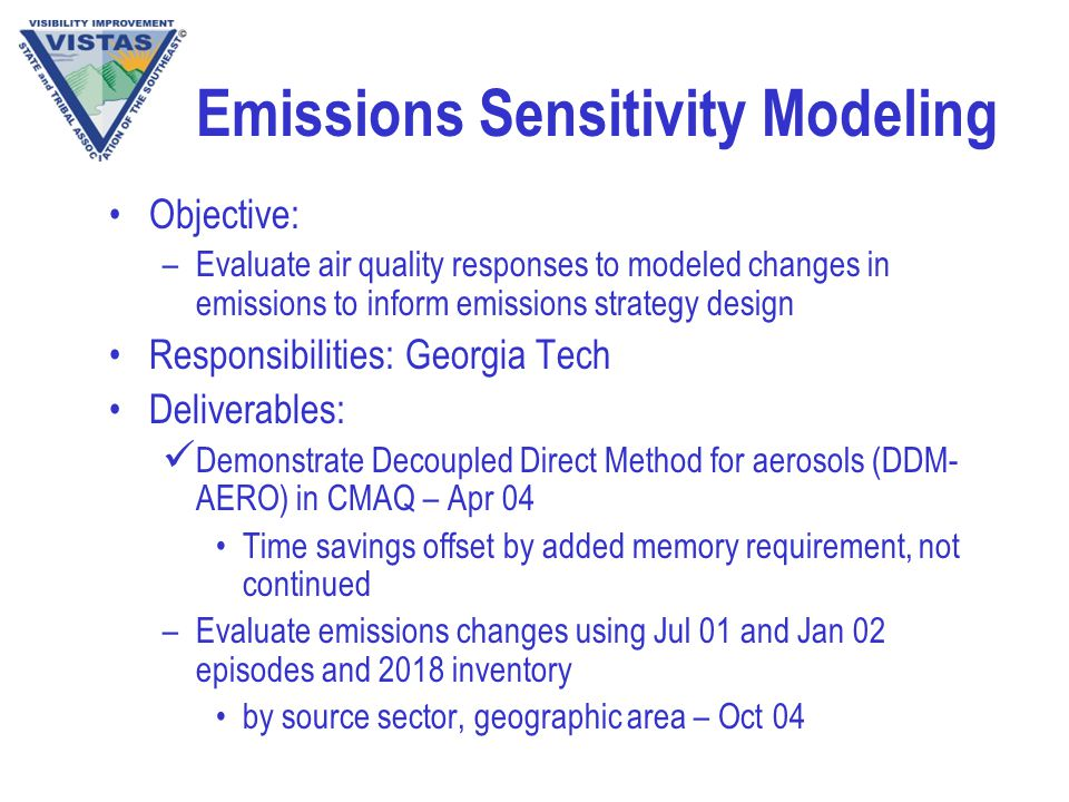 Emissions Sensitivity Modeling Objective: –Evaluate air quality responses to modeled changes in emissions to inform emissions strategy design Responsibilities: Georgia Tech Deliverables: Demonstrate Decoupled Direct Method for aerosols (DDM- AERO) in CMAQ – Apr 04 Time savings offset by added memory requirement, not continued –Evaluate emissions changes using Jul 01 and Jan 02 episodes and 2018 inventory by source sector, geographic area – Oct 04