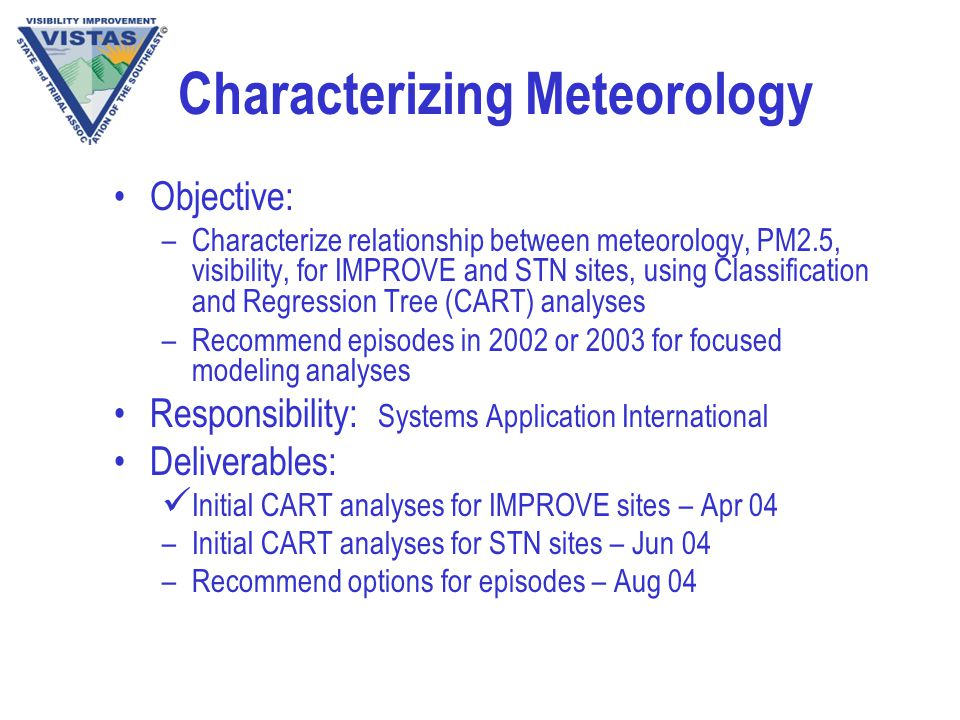 Characterizing Meteorology Objective: –Characterize relationship between meteorology, PM2.5, visibility, for IMPROVE and STN sites, using Classification and Regression Tree (CART) analyses –Recommend episodes in 2002 or 2003 for focused modeling analyses Responsibility: Systems Application International Deliverables: Initial CART analyses for IMPROVE sites – Apr 04 –Initial CART analyses for STN sites – Jun 04 –Recommend options for episodes – Aug 04