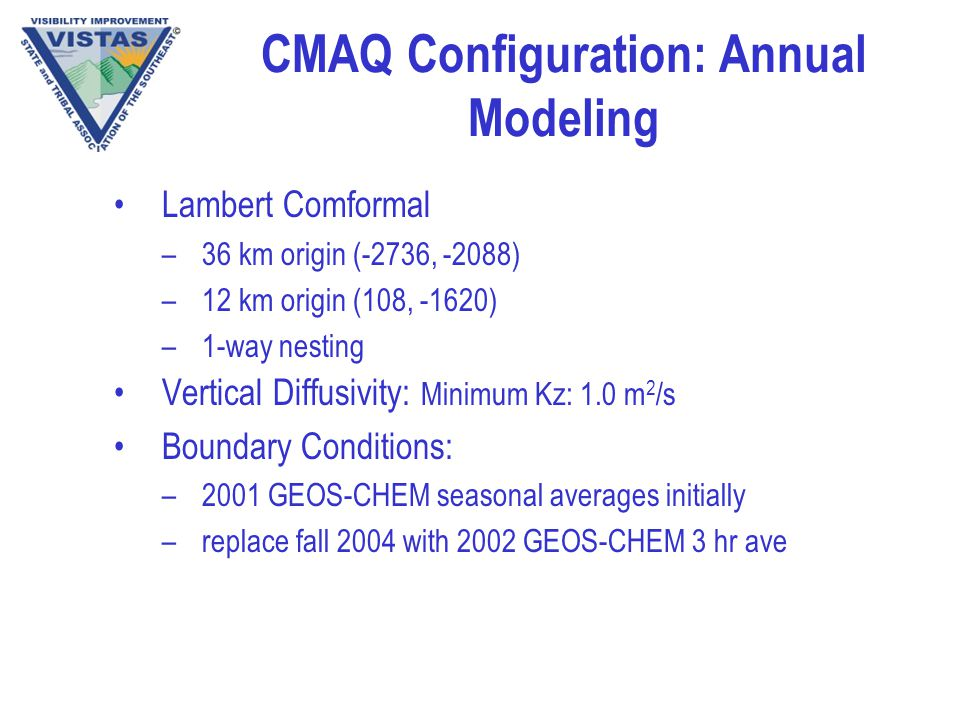 CMAQ Configuration: Annual Modeling Lambert Comformal –36 km origin (-2736, -2088) –12 km origin (108, -1620) –1-way nesting Vertical Diffusivity: Minimum Kz: 1.0 m 2 /s Boundary Conditions: –2001 GEOS-CHEM seasonal averages initially –replace fall 2004 with 2002 GEOS-CHEM 3 hr ave