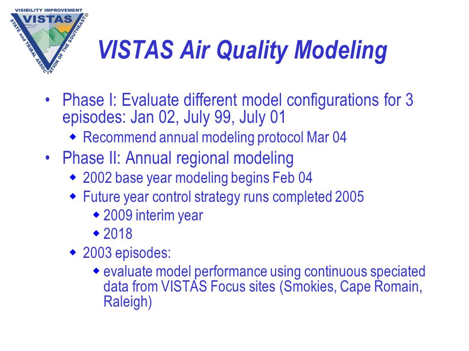VISTAS Air Quality Modeling Phase I: Evaluate different model configurations for 3 episodes: Jan 02, July 99, July 01 wRecommend annual modeling protocol Mar 04 Phase II: Annual regional modeling w2002 base year modeling begins Feb 04 wFuture year control strategy runs completed 2005 w2009 interim year w2018 w2003 episodes: wevaluate model performance using continuous speciated data from VISTAS Focus sites (Smokies, Cape Romain, Raleigh)