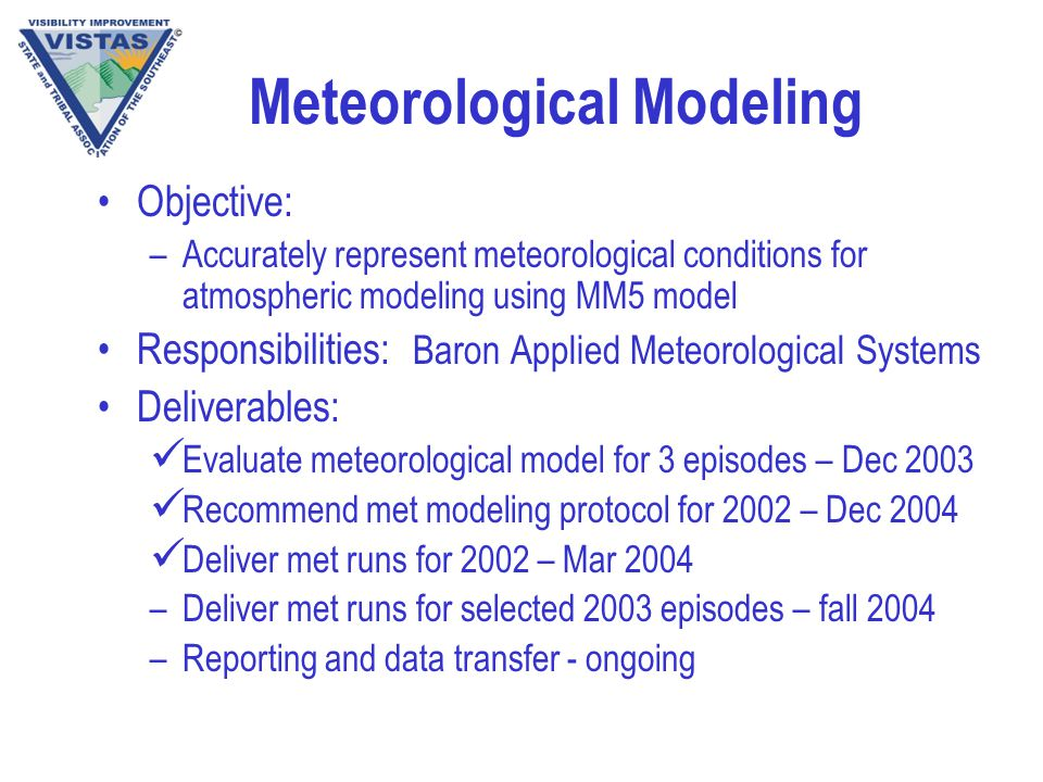 Meteorological Modeling Objective: –Accurately represent meteorological conditions for atmospheric modeling using MM5 model Responsibilities: Baron Applied Meteorological Systems Deliverables: Evaluate meteorological model for 3 episodes – Dec 2003 Recommend met modeling protocol for 2002 – Dec 2004 Deliver met runs for 2002 – Mar 2004 –Deliver met runs for selected 2003 episodes – fall 2004 –Reporting and data transfer - ongoing